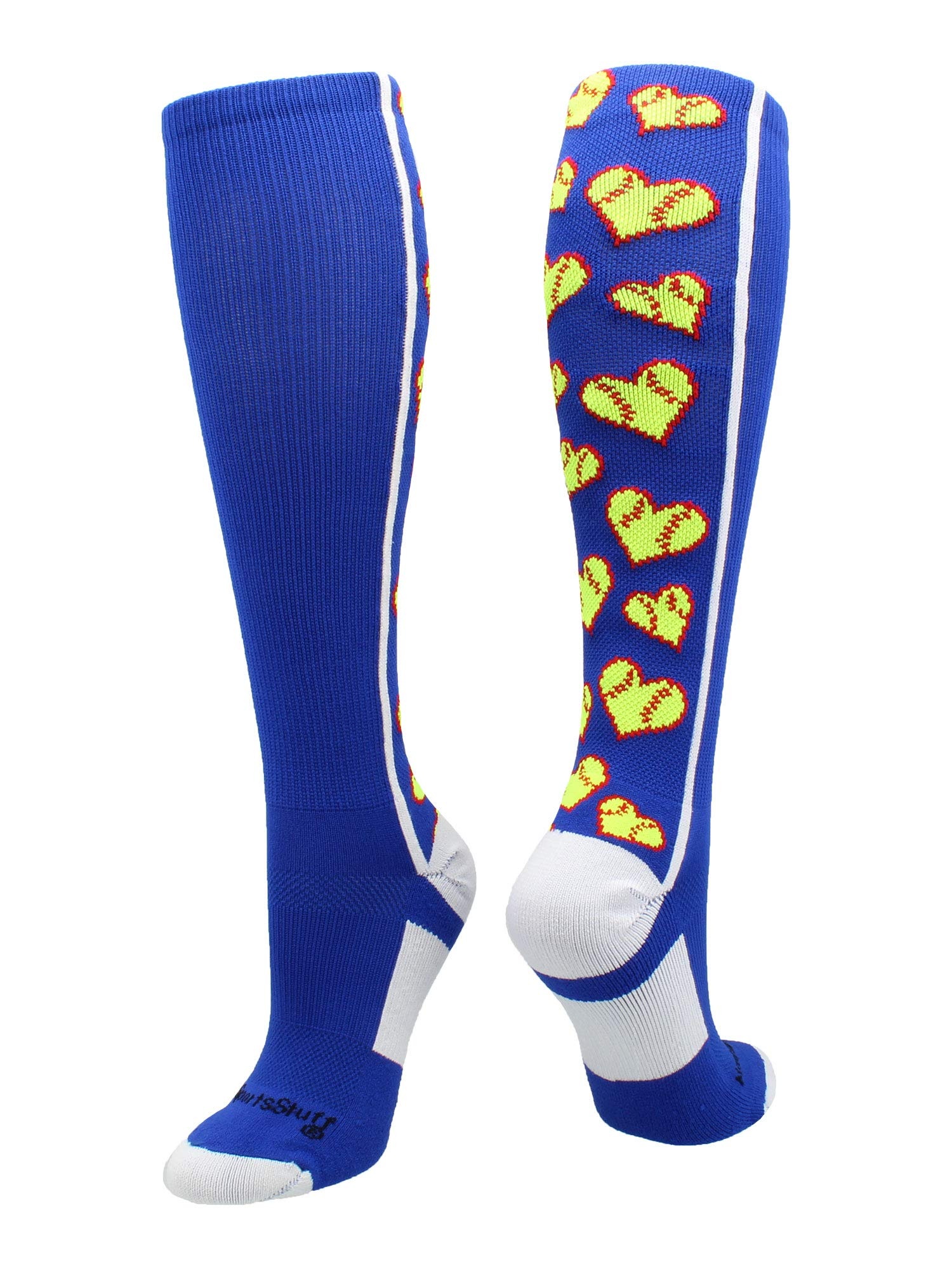 MadSportsStuff Love Softball Socks with Hearts Over The Calf (Royal/White, Small)