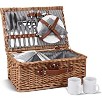 Picnic Basket for 2, Willow Hamper Set with Insulated Compartment, Handmade Large Wicker Picnic Basket Set with Utensils…