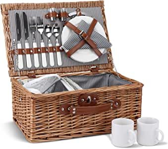 Picnic Basket for 2, Willow Hamper Set with Insulated Compartment, Handmade Large Wicker Picnic Basket Set with Utensils Cutlery - Perfect for Picnicking, Camping, or Any Other Outdoor Event…