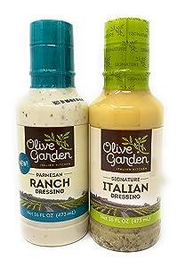Olive Garden Signature Italian Dressing (16 fl oz) Olive Garden Parmesan Ranch Dressing (16 fl oz)! (2 Pack) Salad Dressing! Delicious Salad Dressing!