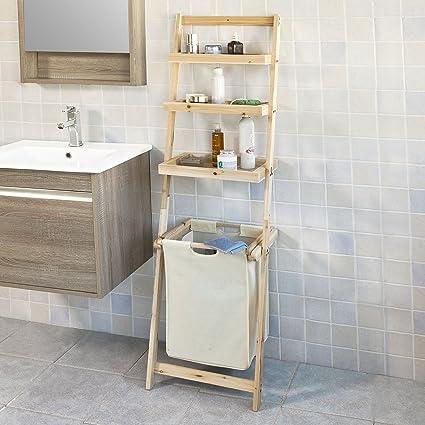 SoBuy® Estantería de baño con cesta y 3 niveles de almacenamiento ...