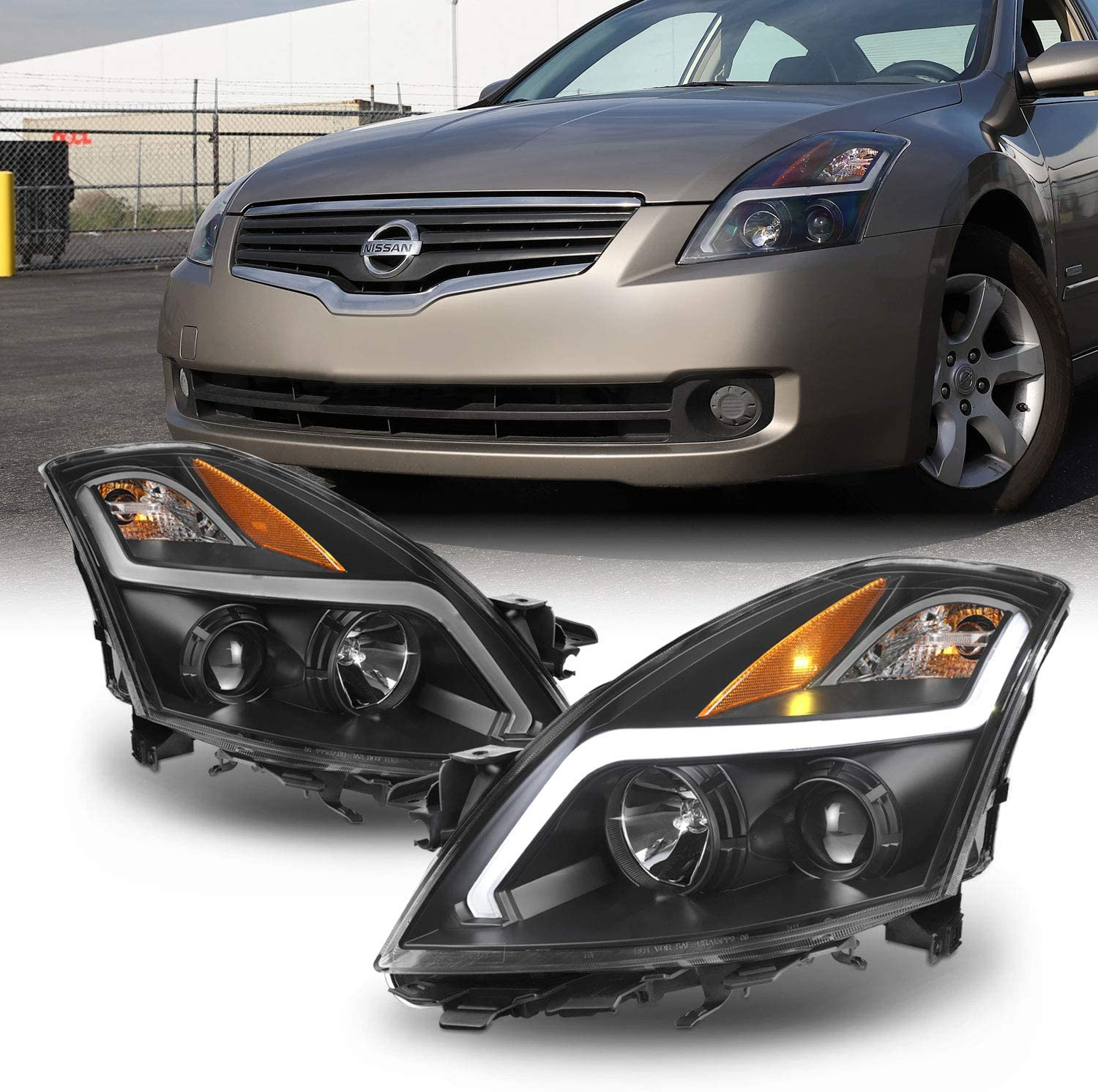 For 2007 2008 2009 Nissan Altima 4 Door Sedan Led Strip Projector Headlight Black Housing Assembly Pair Lamps Automotive