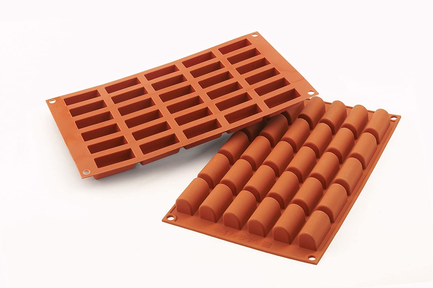 Silikomart-Wonder Cakes 100-Percent Platinum Silicone, Mould-Mini Log 44x18mm (Terracotta) SF129/C