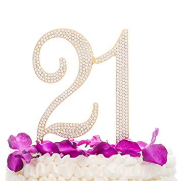Amazoncom Ella Celebration 21 Cake Topper For 21st Birthday Party