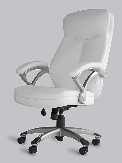 Amazon Com Office Factor White Leather Office Chair Ergonomic