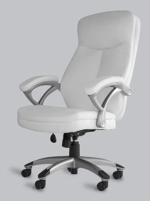 OFFICE FACTOR White Leather Office Chair, Ergonomic Office Chair, Swivel  High Back Office Chair