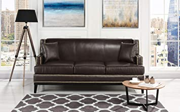 Amazon.com: Casa Andrea Classic Leather Sofa with Nailhead Trim ...