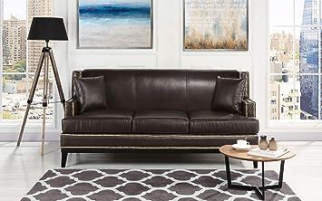 Amazon.com: Casa Andrea Classic Leather Sofa with Nailhead ...