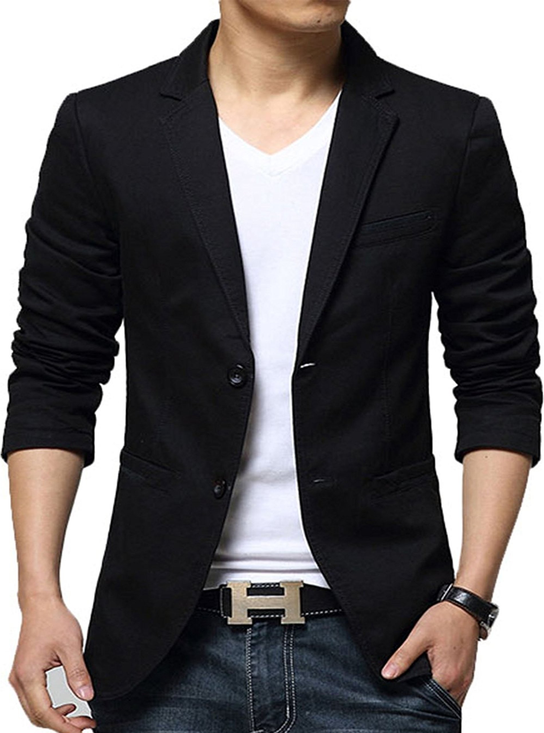 ZITY Men's Summer Business Casual Youth Thin Blazer Jacket Black US L/Label 4XL 318