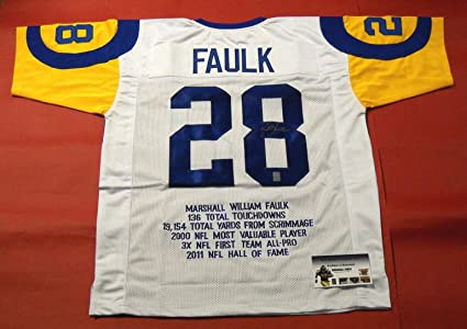 the best attitude 99ee1 359fb Amazon.com: Marshall Faulk Signed Jersey - Throwback Stat W ...