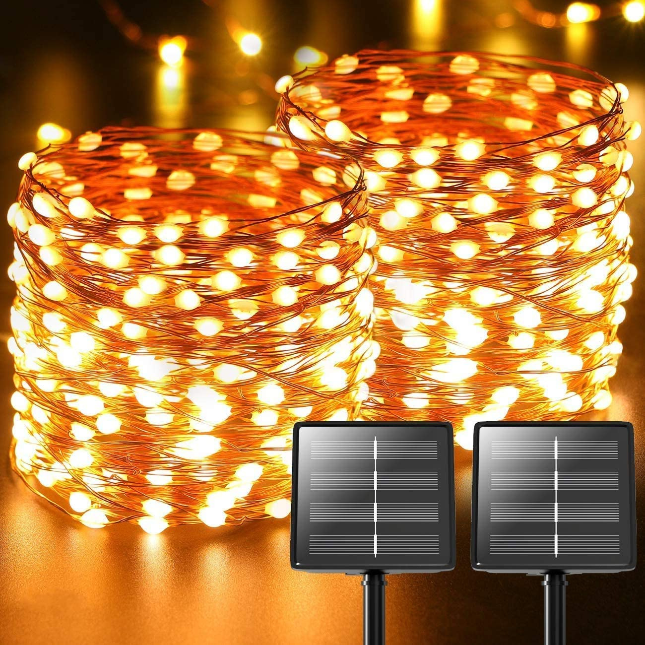 2-Pack 480 LED Solar Fairy Lights Outdoor, Total 170ft Copper Wire Lights Porch Garden Decor, Waterproof Solar Rope Lights for Decor Backyard Trees Christmas