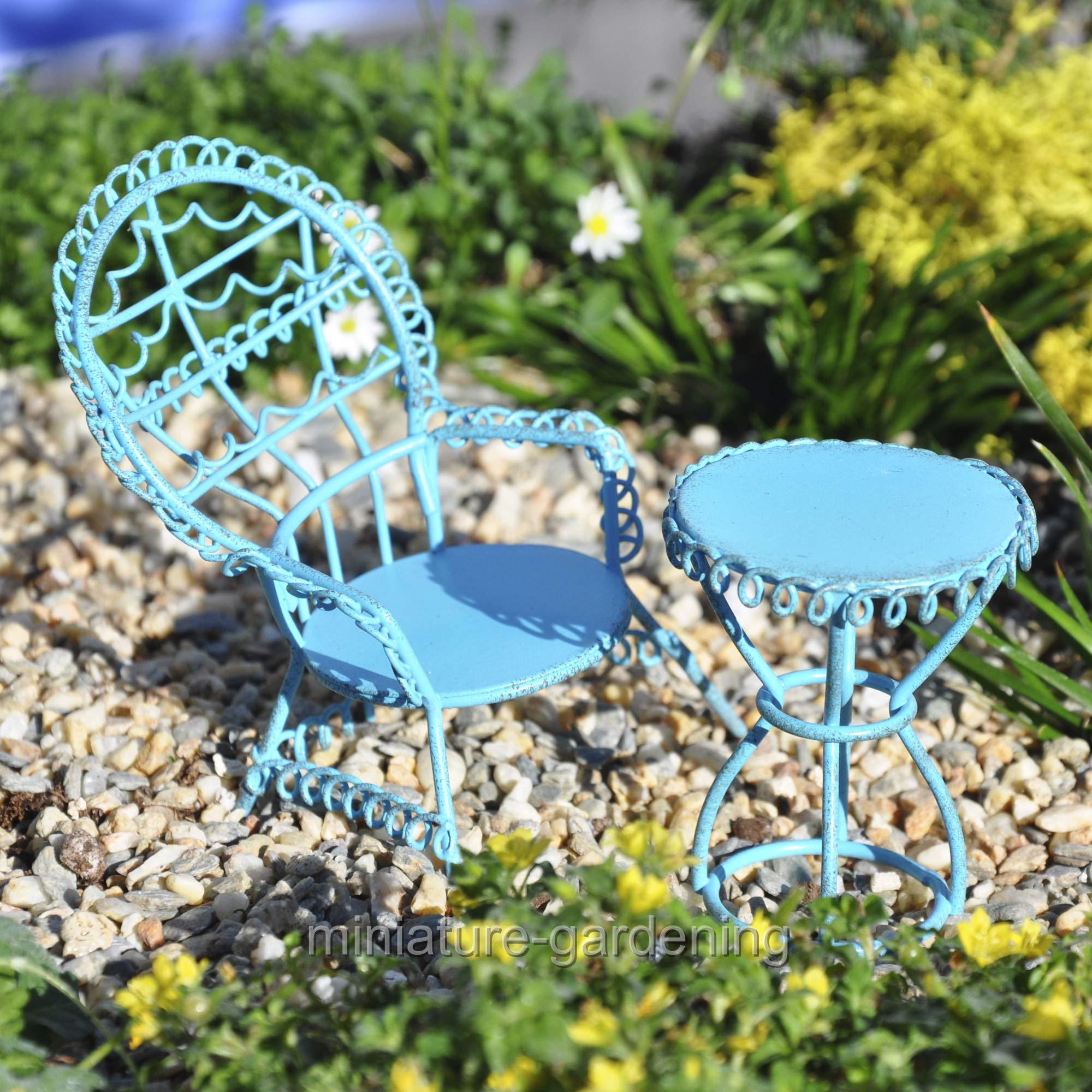 OKSLO peacock chair and table, 2 piece set for miniature garden, fairy garden