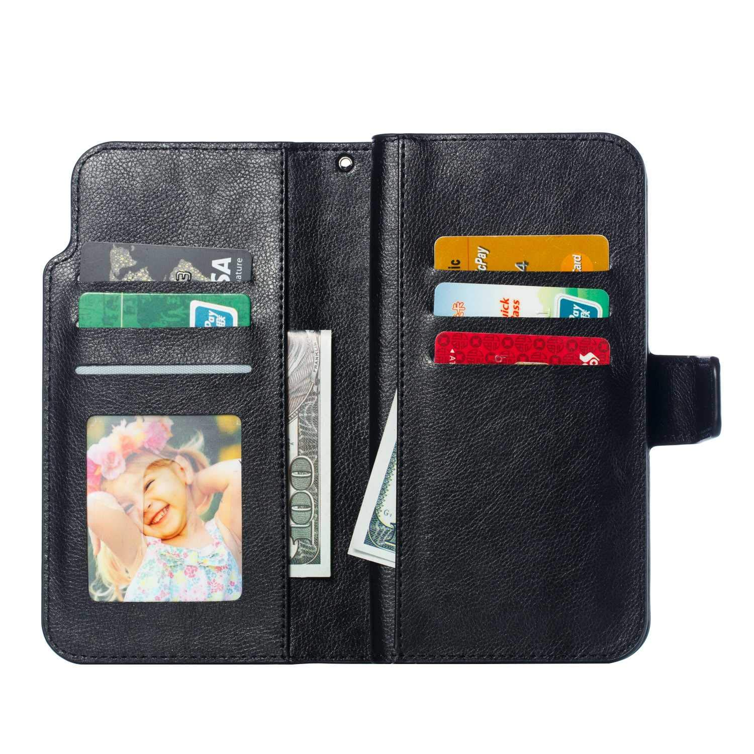 CUSKING iPhone X//iPhone Xs Case Leather Flip Bookstyle Case Magnetic Wallet Cover with Card Holder for Apple iPhone X//iPhone Xs Black
