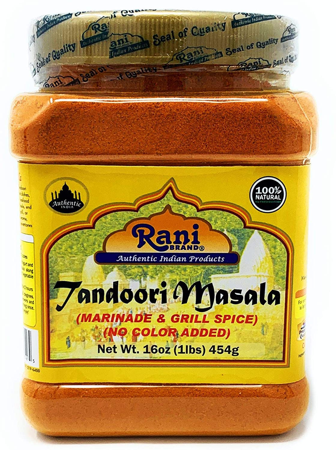 Rani Tandoori Masala (Natural, No Colors Added) Indian 11-Spice Blend 16oz (454g) 1lb PET Jar ~ Salt Free | Vegan | Gluten Free Ingredients | NON-GMO