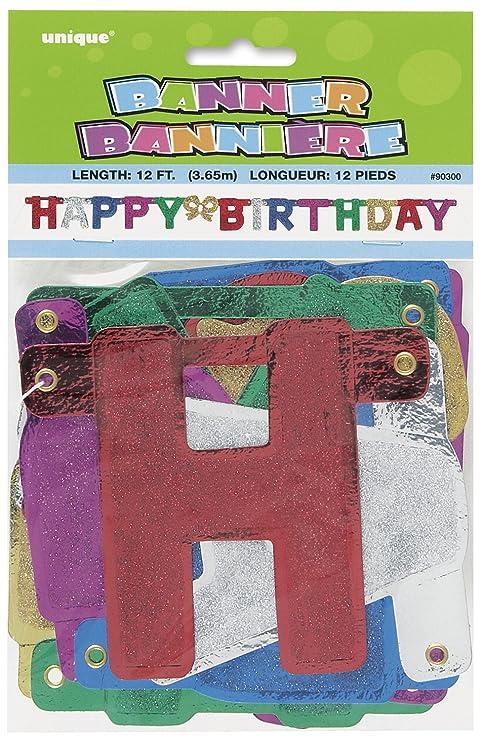 Amazon.com: 4.5 ft Glitter feliz cumpleaños Banner: Kitchen ...