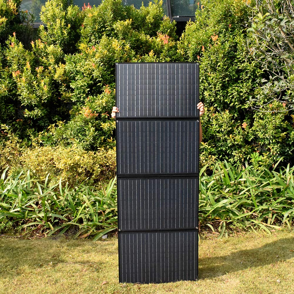 XINPUGUANG 200w 4 x 50 watt 12v Solar Panel Monocrystalline Foldable Solar Charger 20A Dual USB Controller Photovoltaic Cable for Camper Car Tent Motorhome Boat 12v Battery Charging Black