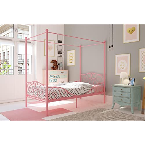 girls furniture bedroom furniture sets dhp canopy bed with sturdy frame metal twin size pink girls bedroom furniture amazoncom