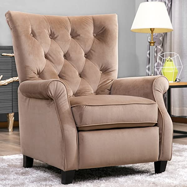 Harper&Bright Designs Tufted Fabric Push Back Accent Chair Upholstered Wingback Wingchair Living Room Reclining Armchair
