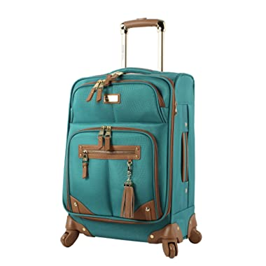 Steve Madden Luggage 24  Expandable Softside Suitcase With Spinner Wheels (24in, Harlo Teal Blue)
