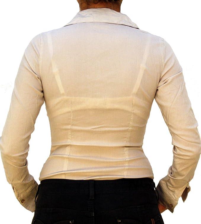 a62a302176 7709 EXTRA ME Damen Stretch Bodys Blusen Bodybluse Blusenbody Farbe Beige  Konfektionsgröße 36 Internationale Größe S beige S/36: Amazon.de: Bekleidung
