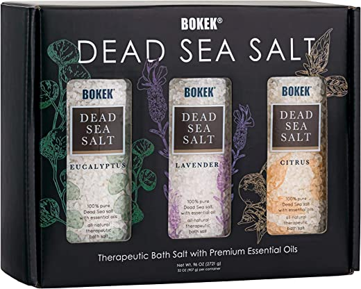 SaltWorks Bokek Scented Dead Sea Salt Gift Set Trio, 3 jars, Lavender/Eucalyptus/Citrus, 32 oz each, 7.5 Pound