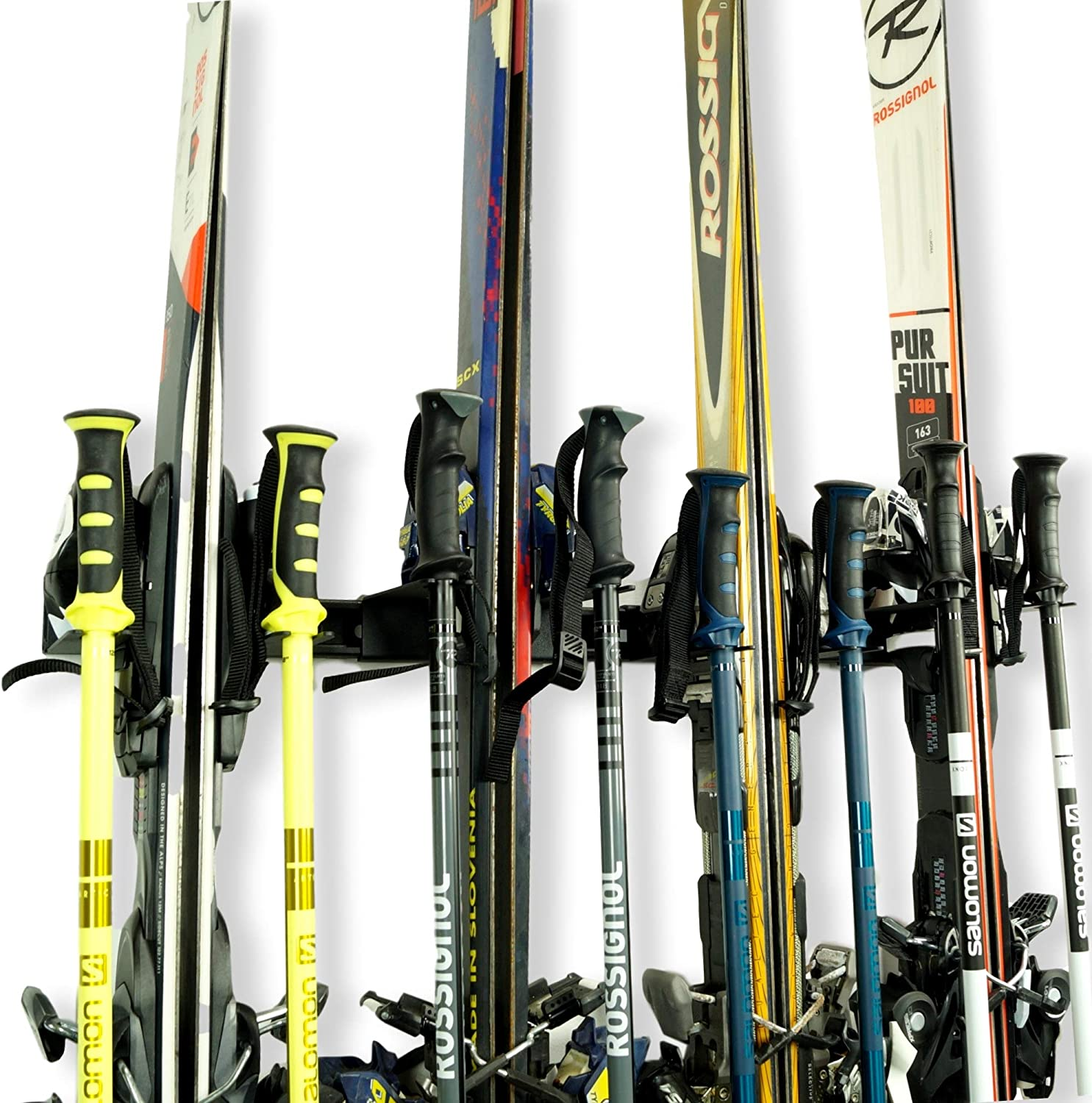 Koova Snow Ski Rack Wall Mount for Indoor Storage Made in USA Securely Holds 4 Pairs of Skis Plus Poles
