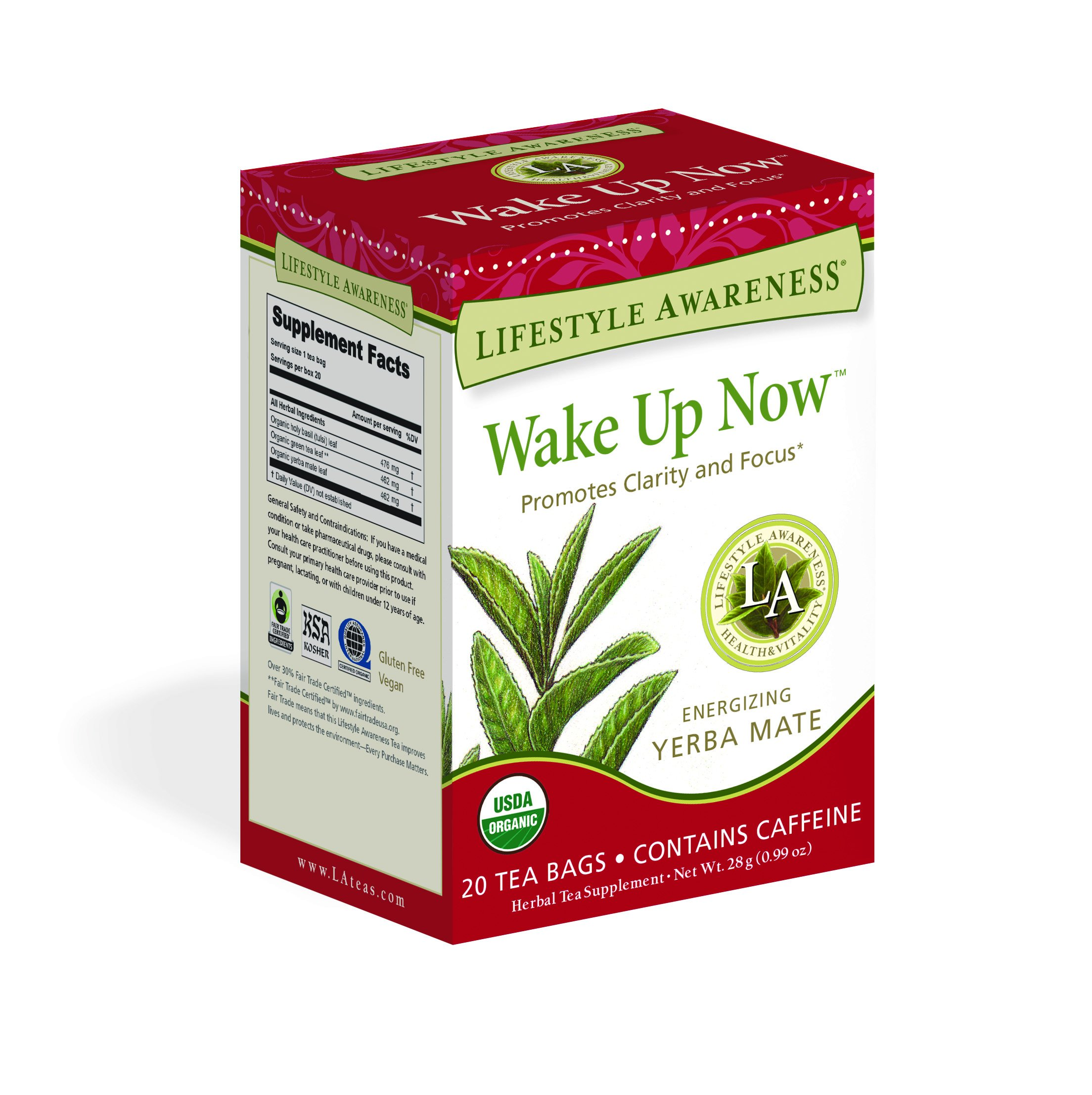 Lifestyle Awareness Wake Up Now Tea with Energizing Yerba Mate, Contains Caffeine, 20 Tea Bags, Pack of 6