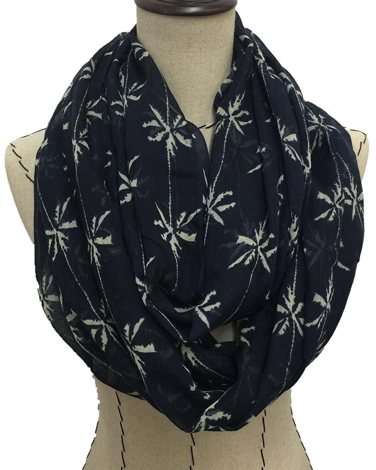 LEAVES SCARF INFINITY STYLE S2-09 NAVY BLUE