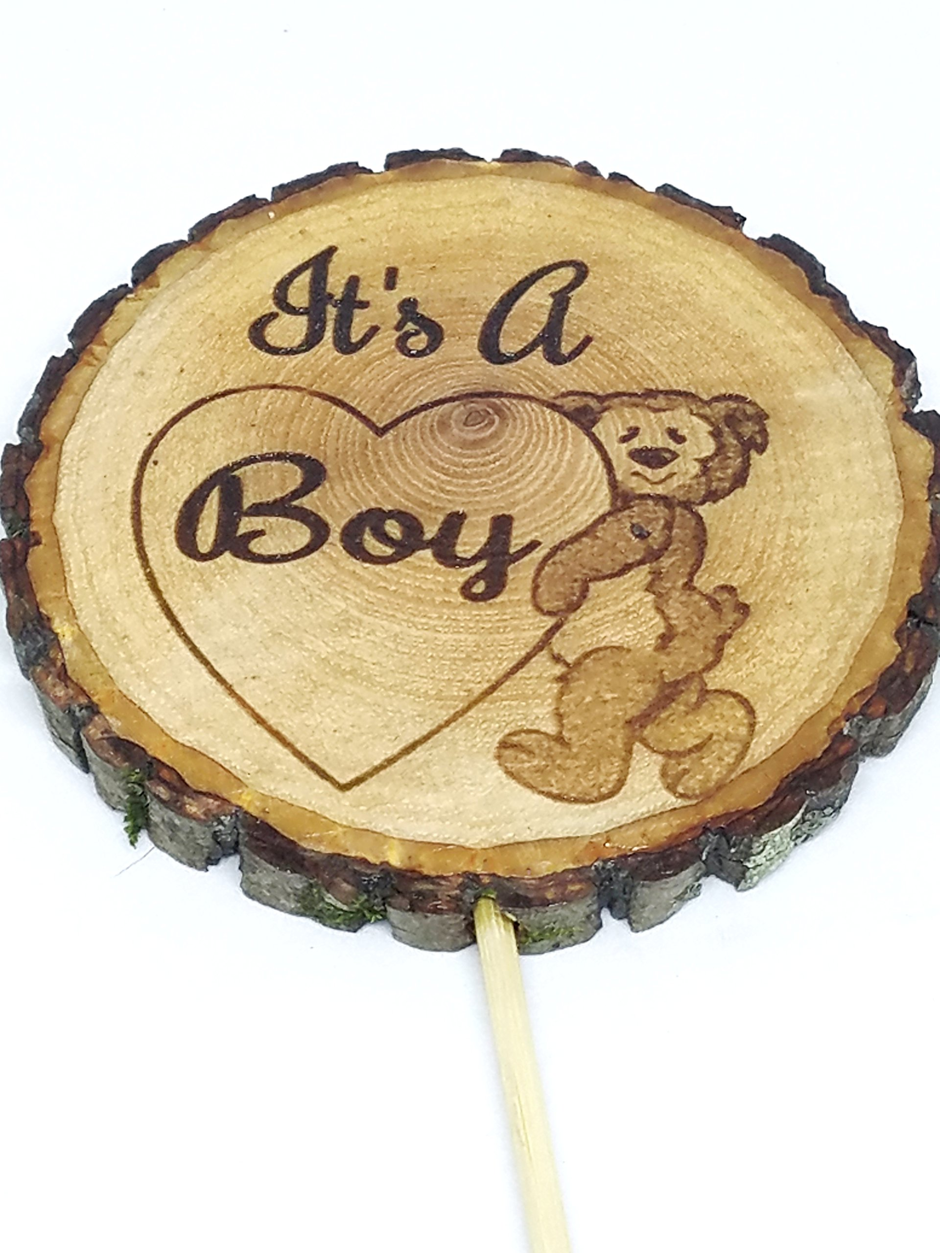 It's a Boy Cake topper Rustic woodland baby shower Bear with heart engraved wood slice