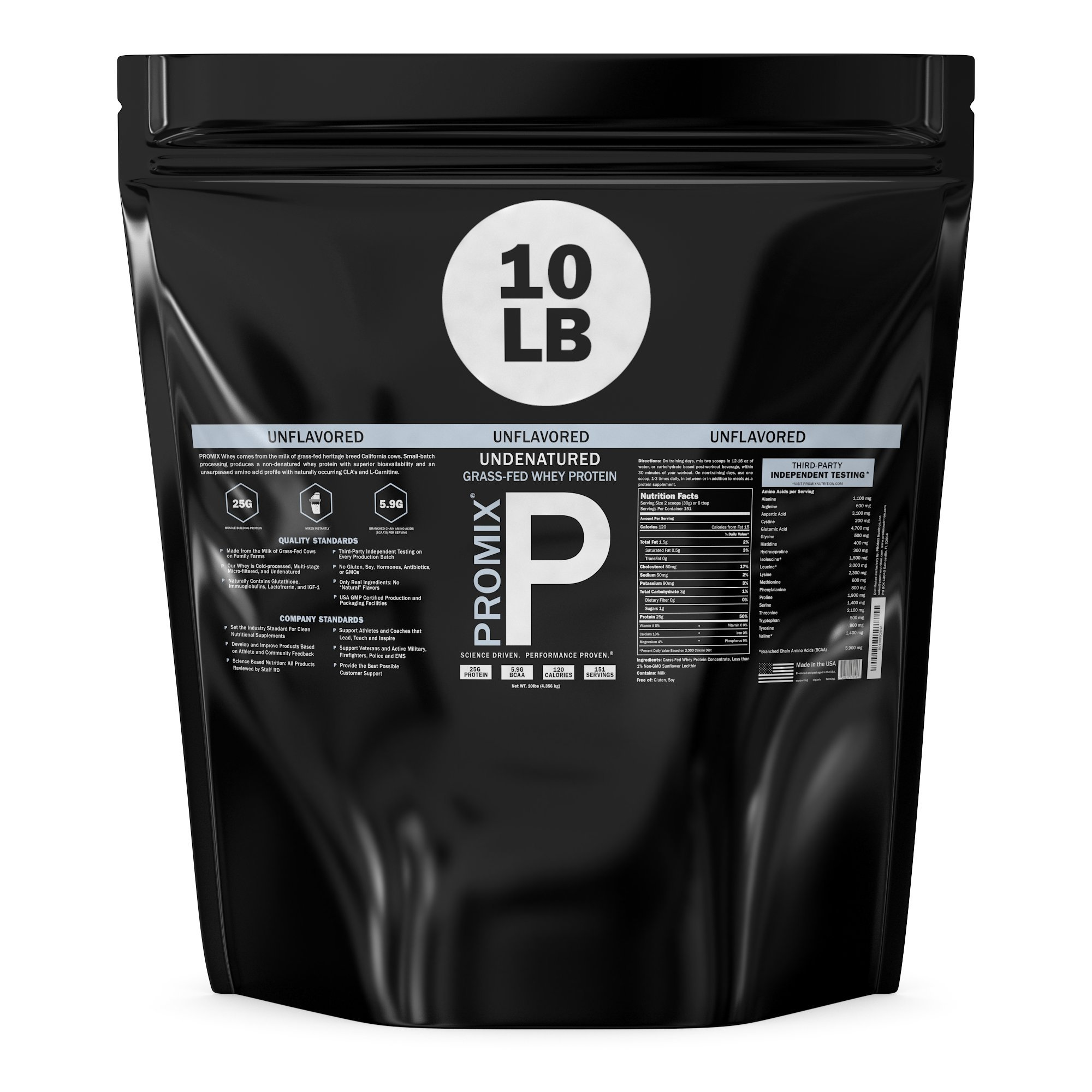 Performance Whey Protein Powder Concentrate - PROMIX Standard 100 Percent All Natural Grass Fed & Undenatured - Best for Optimum Fitness Nutrition Shakes & Energy Smoothie Bowls: Unflavored 10 lb Bulk