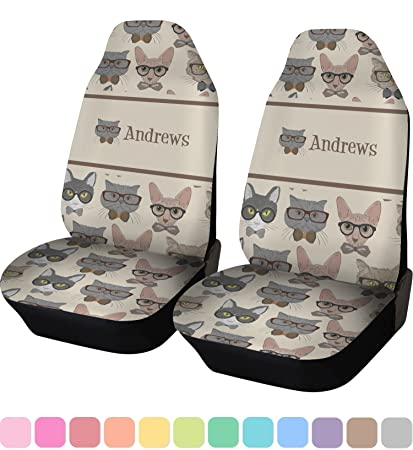 RNK Shops Hipster Cats Car Seat Covers Set Of Two Personalized