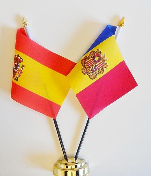 España y Andorra la amistad bandera de mesa pantalla 25 cm (10