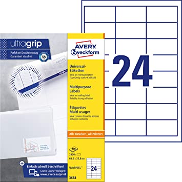 35,6 x 16,9 mm, AVERY Zweckform AVERY Zweckform etiquettes multi-usages