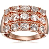 Rose Gold-Plated Silver Morganite Oval Wide Band Ring, Size 7