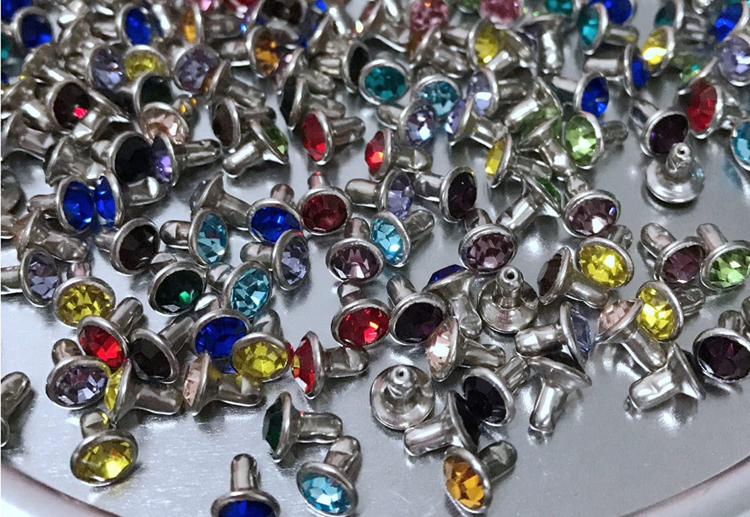 100sets 6mm Mixed Colors Rhinestone Rivets Studs Nailhead Rock Biker Punk DP075 THAILAND