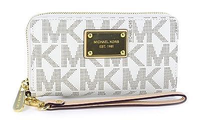 Michael Kors Jet Set Large iPhone Wristlet Signature Vanilla PVC Clutch  Wallet