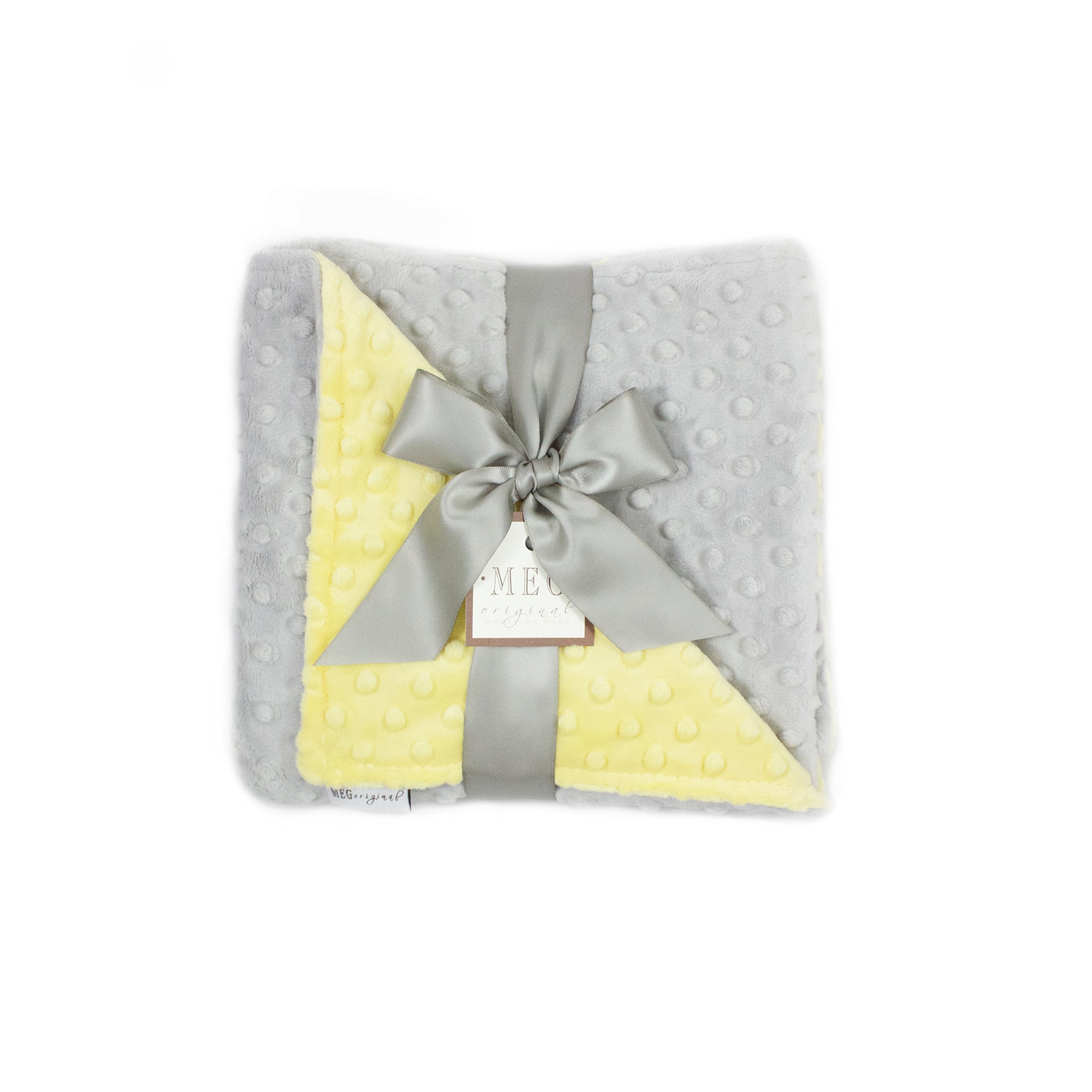MEG Original Minky Dot Baby Blanket Yellow/Gray