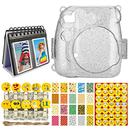 Amazoncom Glitter Clear Hard Case For Fuji Instax Mini 9 8 8