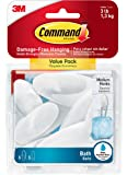 Command Bath Hook Value Pack, Medium, Clear Frosted, 6-Hooks, 6-Medium Water Resistant Strips (BATH18-6ES)