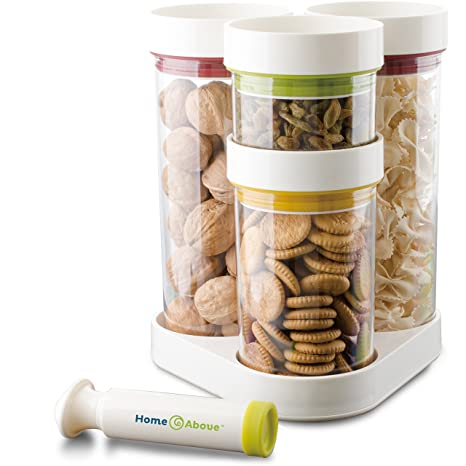 Home And Above 5 Piece Vacuum Food Container Set In Rotating Carousel With Vacuum  Pump,