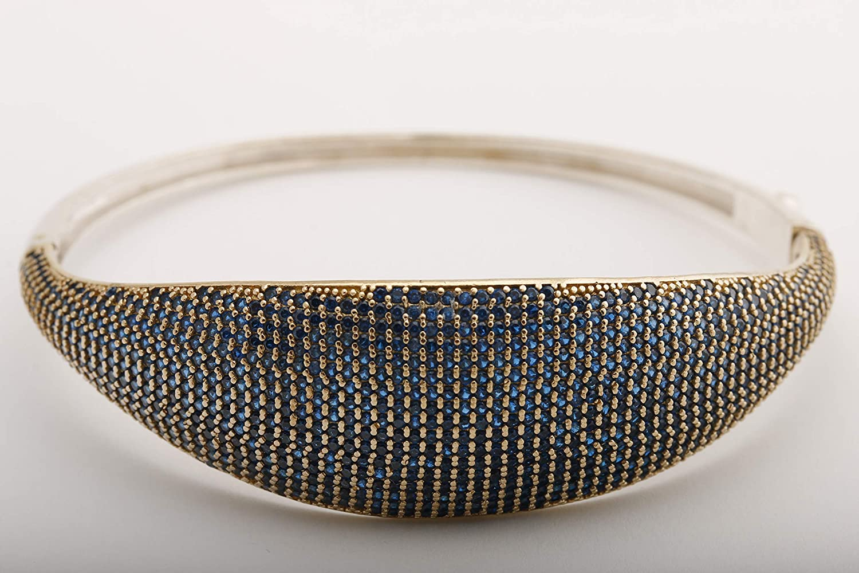 Turkish Handmade Jewelry Sterling Silver 925 Sapphire Blue Bracelet Bangle Cuff