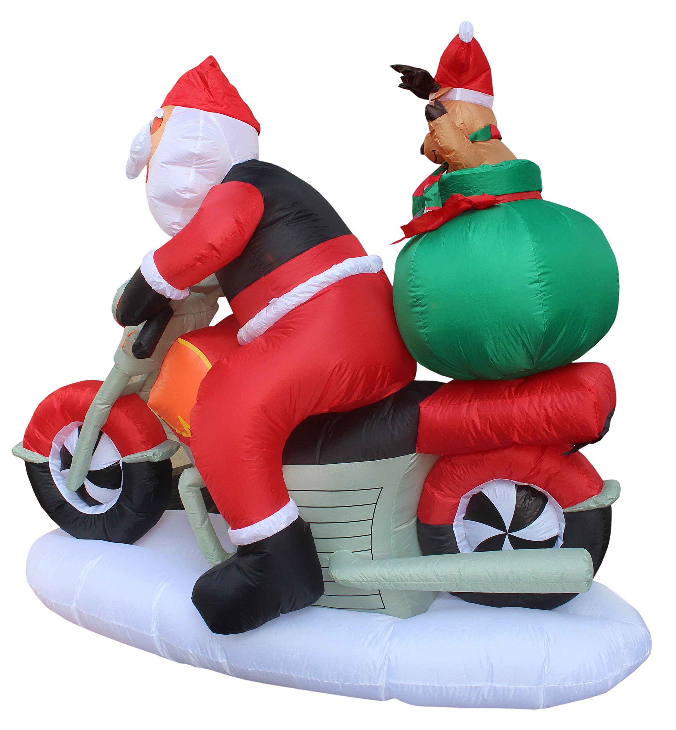 6 Foot Long Inflatable Santa Claus & Reindeer Riding Motorcycle