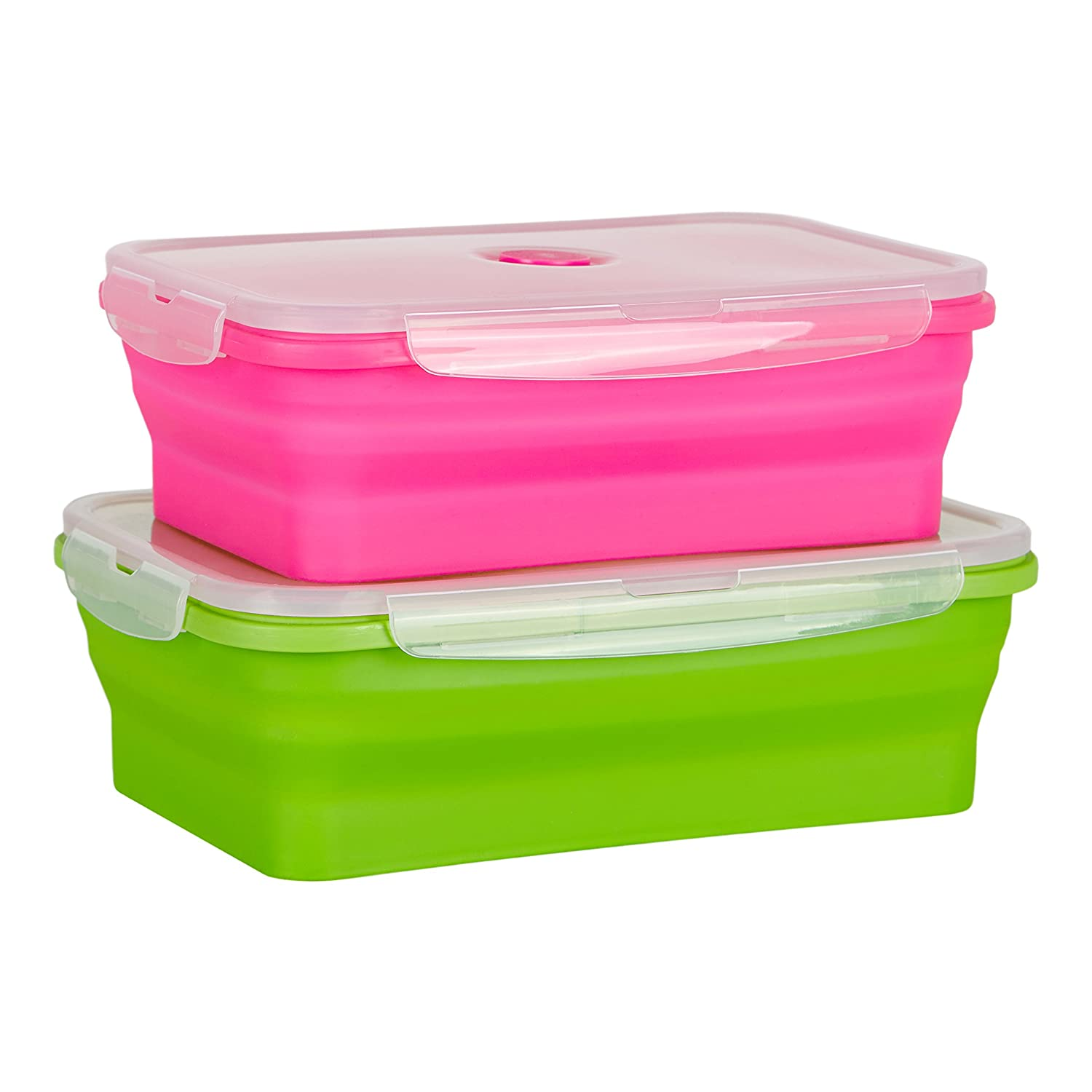 Flat Stacks Collapsible Silicone Food Kitchen Storage Containers | Space Saving | BPA Free | Air-tight | Leak proof | Microwave, Fridge, Freezer & Dishwasher Safe | Multicolour 2 Pack - Large Rectangular | The Original Flat Stacks Food Boxes