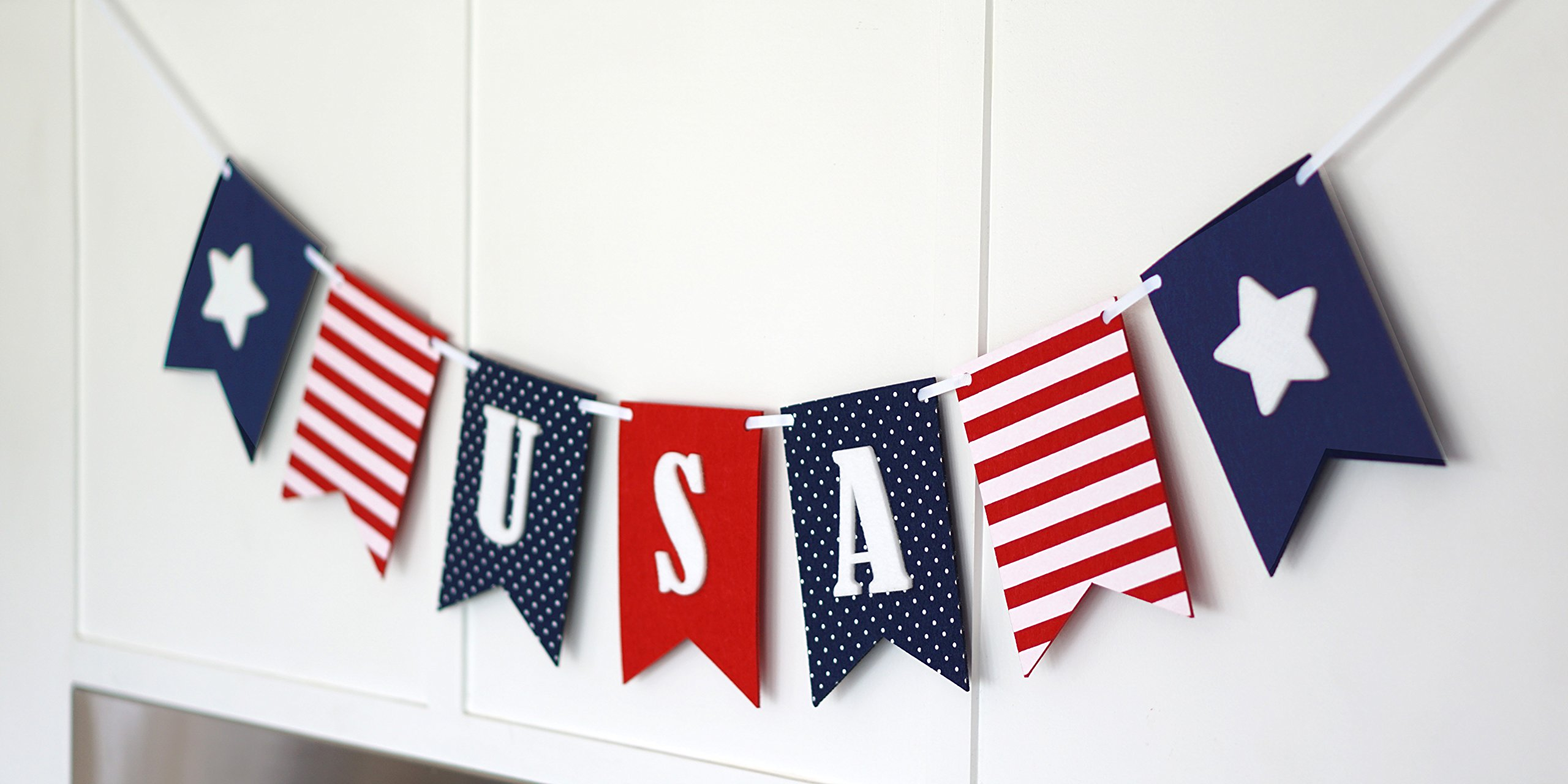 USA Banner Bunting Laser Cut Felt 40 inches wide - Patriotic Americana Red, White, & Blue America! by Decomod (Image #4)