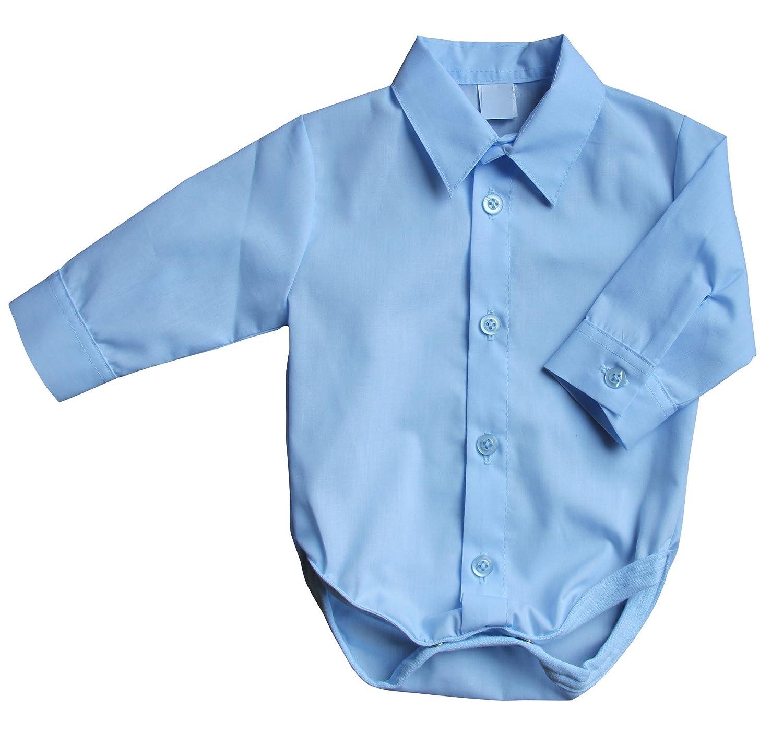 BIMARO Baby Hemd Body Blau Hellblau Jungen Taufbody Babybody Langarm Kragen Festlich Hochzeit Taufe Anlass