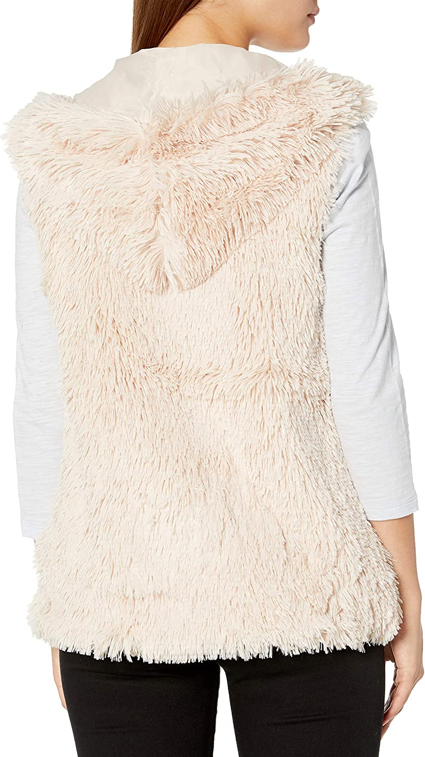 Angie Womens Faux Fur Zip Front Hooded Vest Small tan