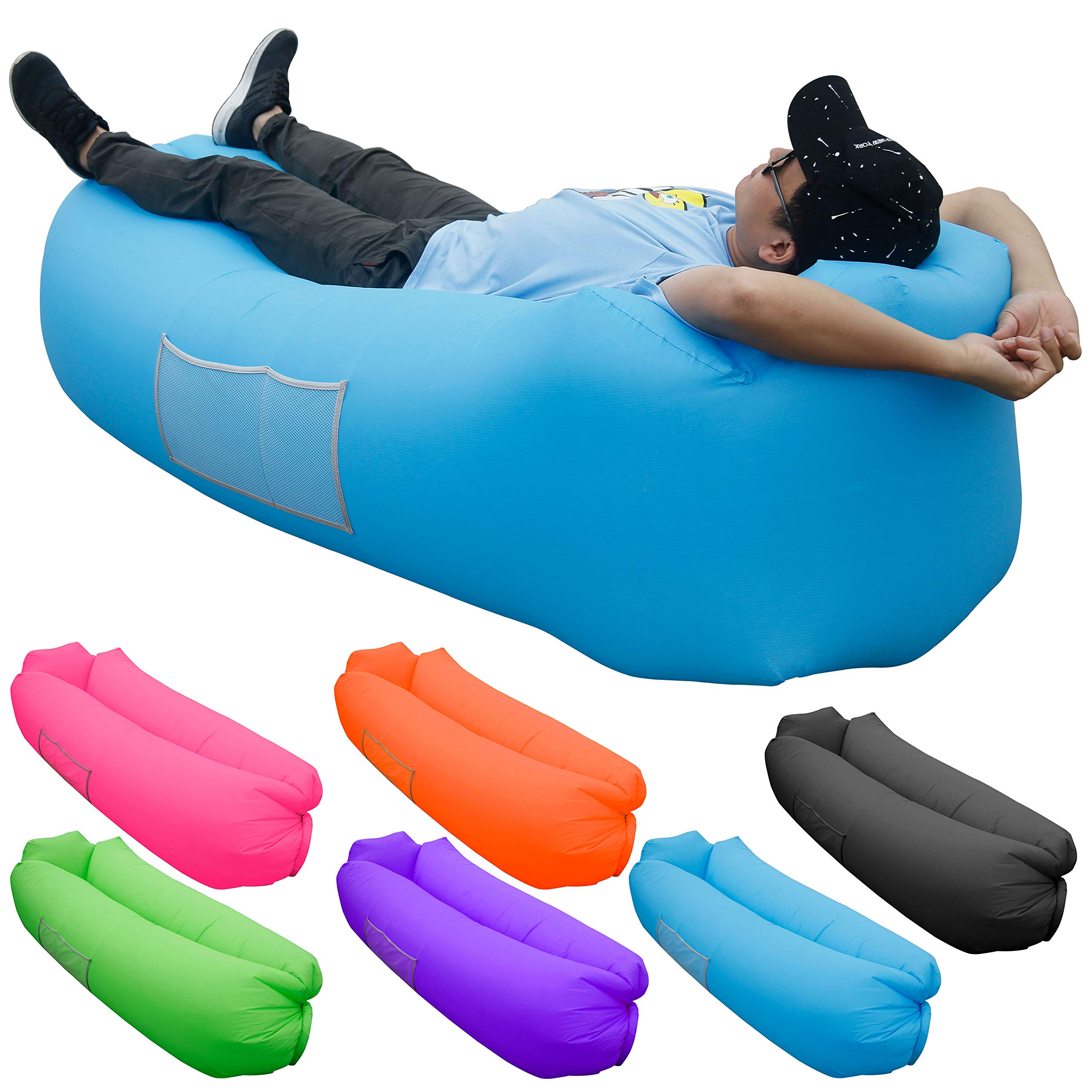 Skoloo Inflatable Lounger Air Sofa, Portable Water Proof Anti-Air Leaking & Pillow-Shaped Designed Couch for Backyard Pool Travel Camping Hiking Lakeside Picnics Music Festivals Beach Parties,Blue by Skoloo