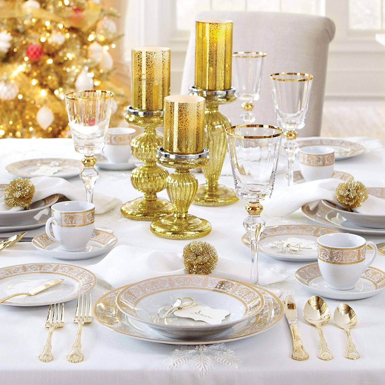 Brylanehome 40-Pc. Golden Ceramic Dinnerware Set (Gold White)