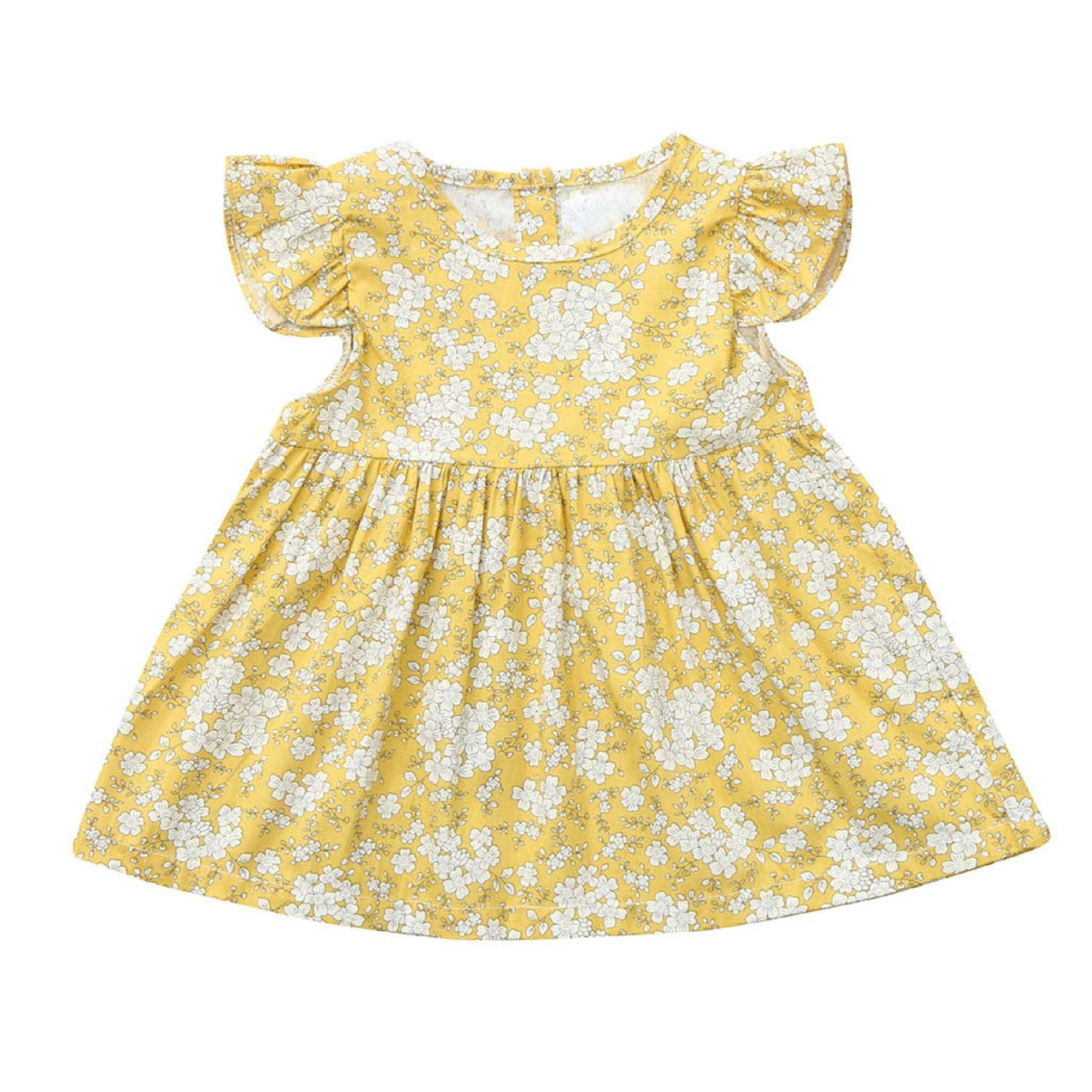 Zainafacai Toddler Baby Girl Summer Dresses,Floral Plaid Backless Ruffle Fly Sleeve Princess Dress Skirts Clothes Yellow