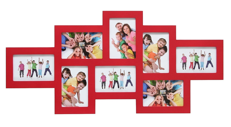 Deknudt Frames S65SW4 Bilderrahmen 10x15 Galerierahmen, Rot, 8x (10x15) Holz Fotokader
